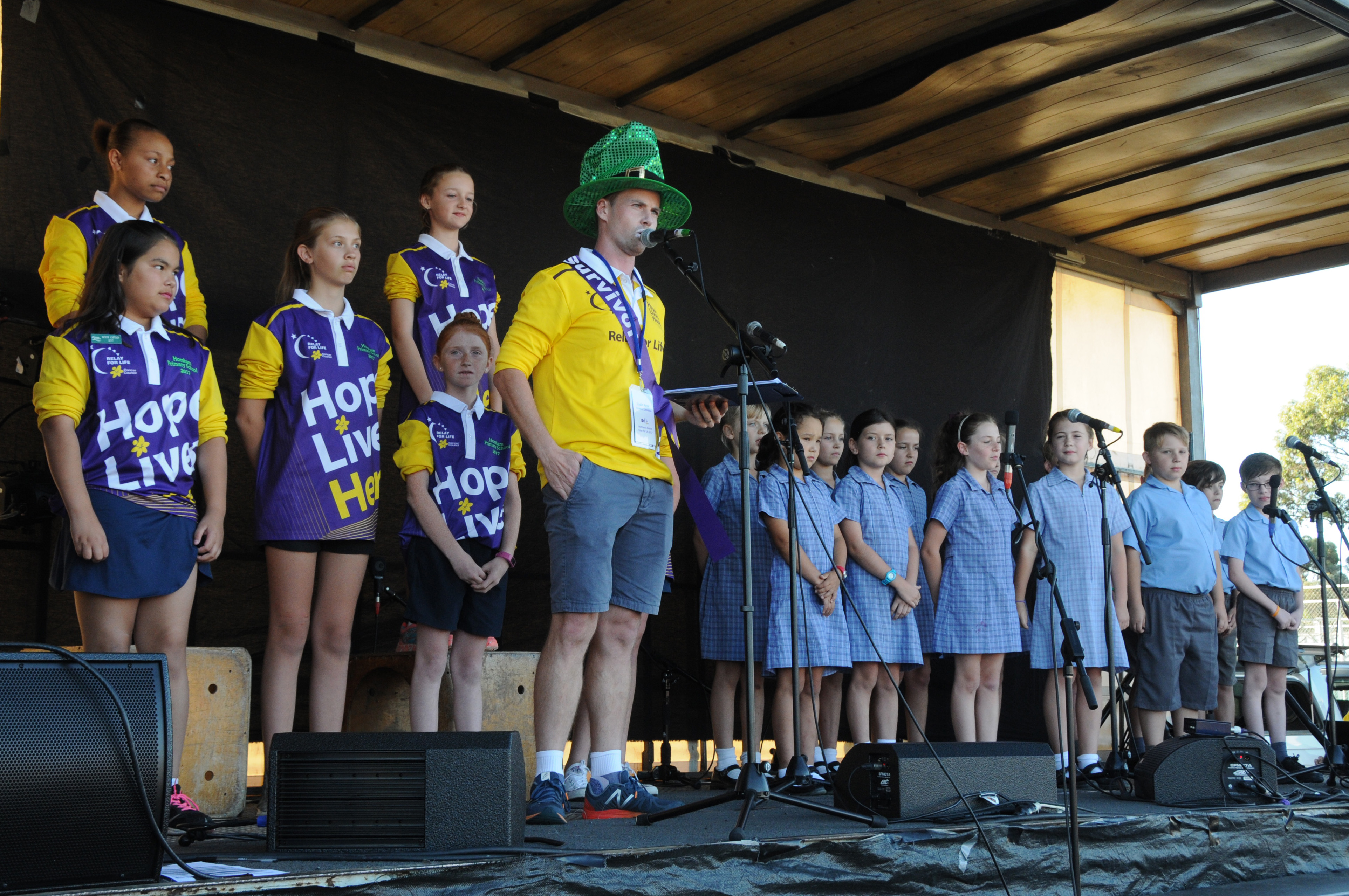Image - Horsham and District Relay for Life, 170317. Horsham Primary School signing choir, Justin Amor, and Holy Trinity Lutheran School pupils.
