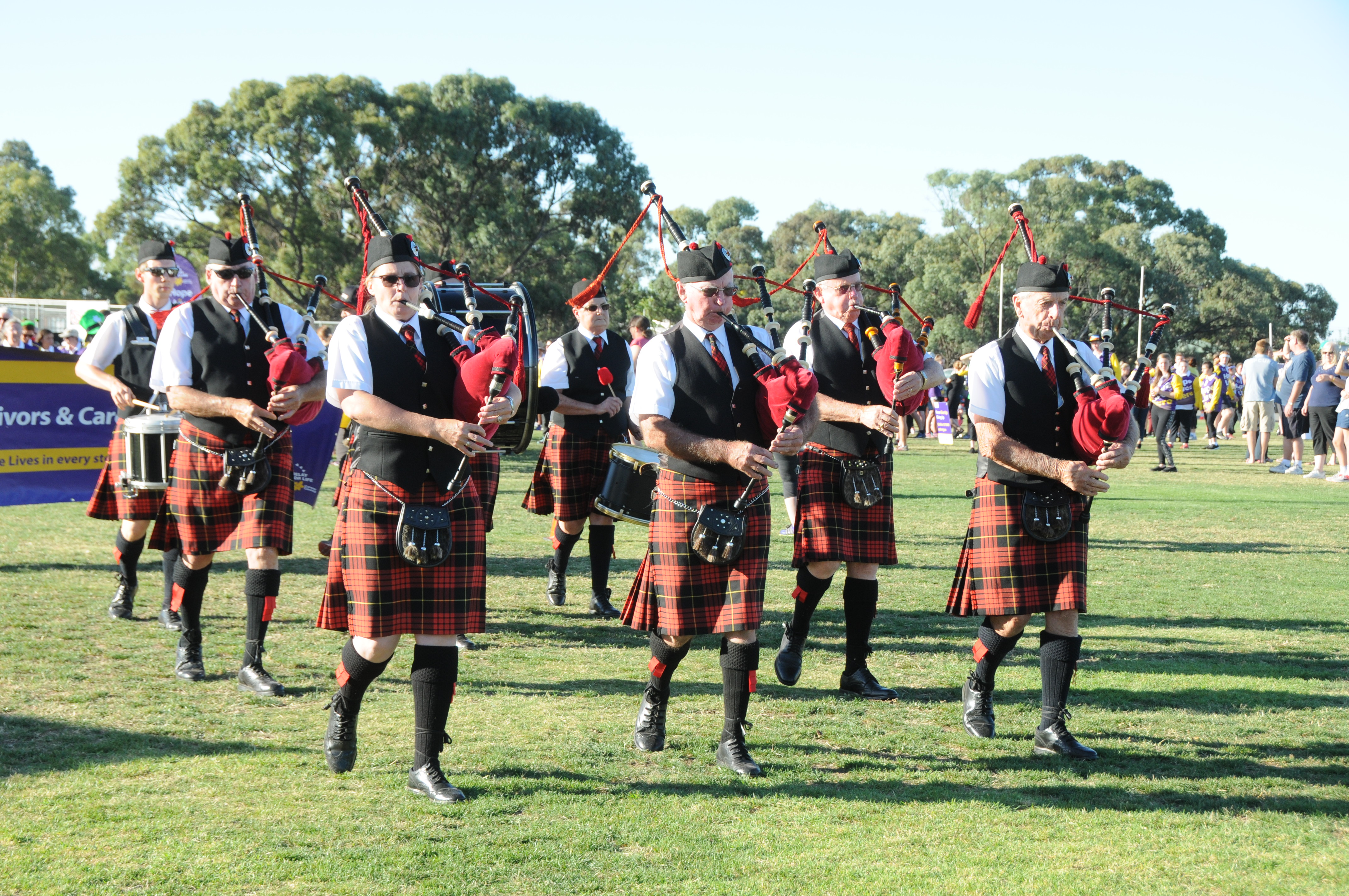 Image - Horsham and District Relay for Life, 170317. Horsham City Pipe Band led the first lap.