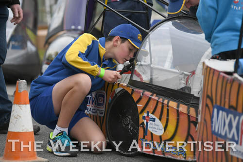 Image - Ben Salter Holy sets up a Holy Trinity Lutheran School HPV for the first Human Powered Vehicle 'expo' at Dimboola.