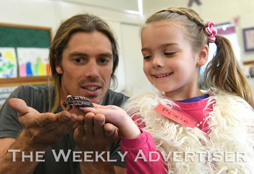 Image - Xavier Morello from Wildlife Exposure shows Pixie Farr a cockroach at Natimuk Road Kindergarten.
